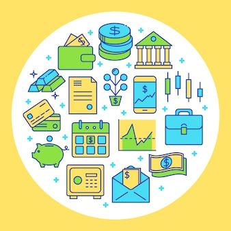 Elementy finansów i pieniędzy w okrągłe ramki