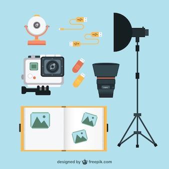 Elementy fotograficzne pakować w płaskim stylu