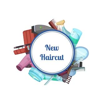 Elementy fryzjerskie lub fryzjerskie kreskówki