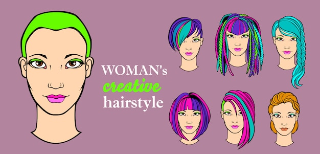 Elementy fryzury kobiecej do aplikacji dla fryzjerów