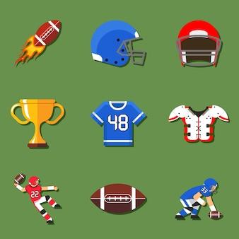 Elementy futbolu amerykańskiego w stylu płaski