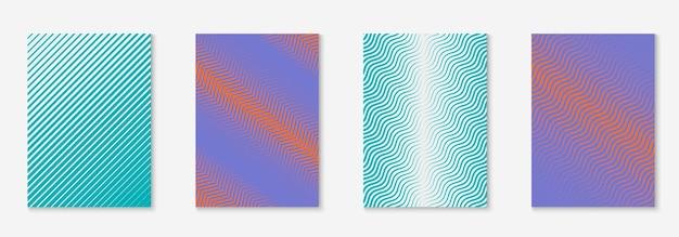 Elementy geometryczne linii. pomarańczowy i fioletowy. kolorowe zaproszenie, baner, afisz, makieta certyfikatu. geometryczne elementy linii na minimalistycznym modnym szablonie okładki.