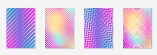 Elementy geometryczne linii. pomnóż tapetę, prezentację, zaproszenie, układ patentowy. holograficzne. geometryczne elementy linii na minimalistycznym modnym szablonie okładki.