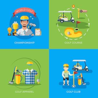Elementy golfowe i postacie