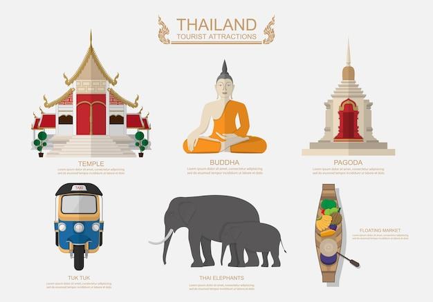 Elementy graficzne do podróży do tajlandii