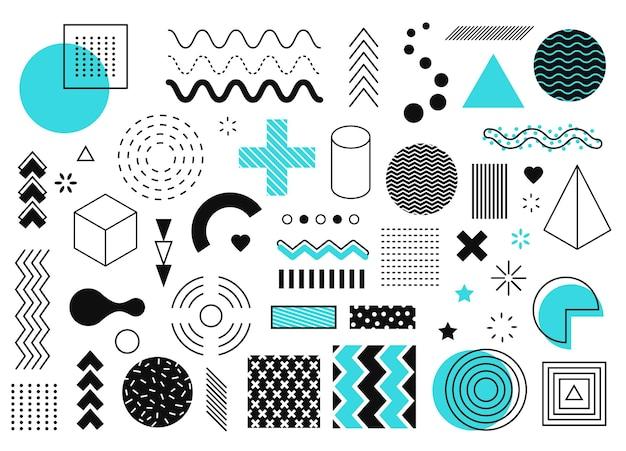 Elementy graficzne memphis abstrakcyjne kształty geometryczne linia koło trójkąt półtony projekt retro z lat 90.