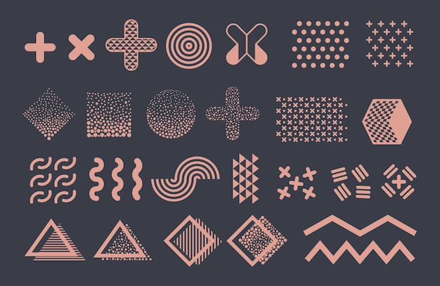Elementy graficzne memphis. funky geometryczne kształty i kolekcja półtonów