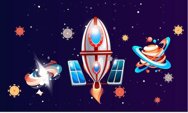 Elementy gry kosmicznej, rakiety i planety w ciemnoniebieskiej przestrzeni