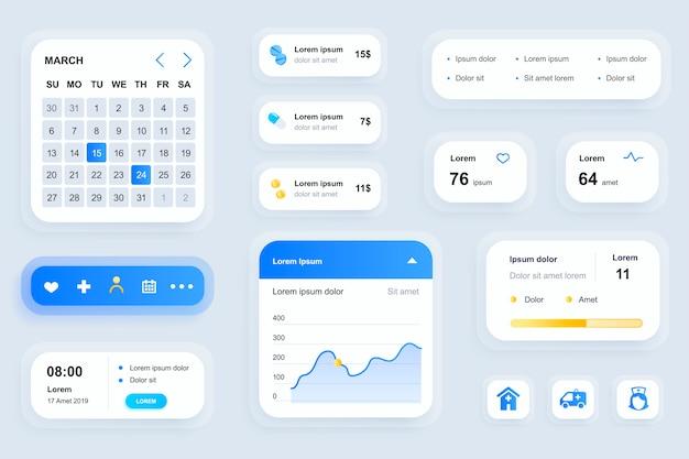 Elementy gui dla interfejsu aplikacji mobilnej medycyny, zestaw narzędzi ux