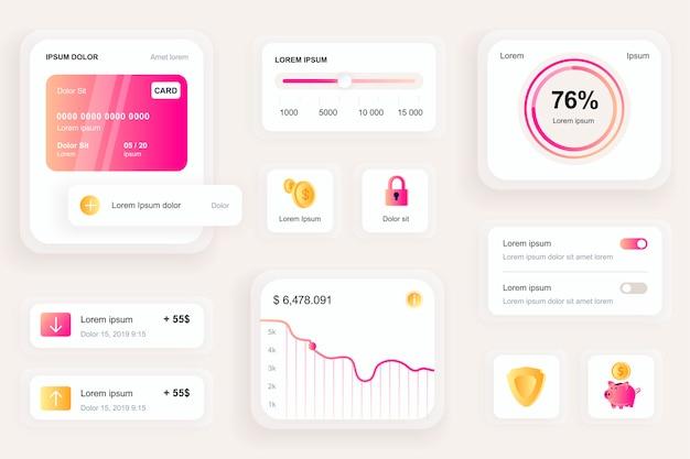 Elementy gui dla interfejsu bankowej aplikacji mobilnej, zestaw narzędzi ux