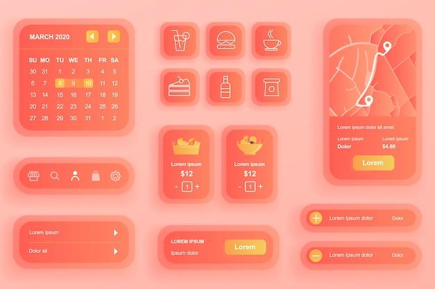 Elementy gui do aplikacji mobilnej dostarczania jedzenia
