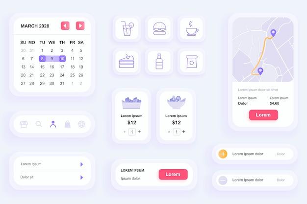 Elementy gui do interfejsu aplikacji mobilnej dostawy jedzenia, zestaw narzędzi ux