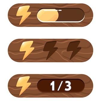 Elementy gui. trzy różne opcje przedstawiania energii (pasek postępu, wypełnienie i numeryczna). zestaw elementów energii, siły, mocy gracza.