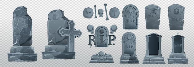 Elementy halloween i obiekty do projektów projektowych. nagrobki na halloween. starożytne odp. grób na białym tle