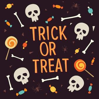 """Elementy halloween. napis """"trick or treat"""" otoczony jest kośćmi, czaszkami, słodyczami, lizakami, cukierkami."""