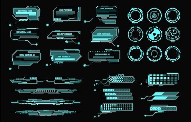 Elementy hud futurystyczny wirtualny panel sterowania z interfejsem użytkownika dla aplikacji do gier