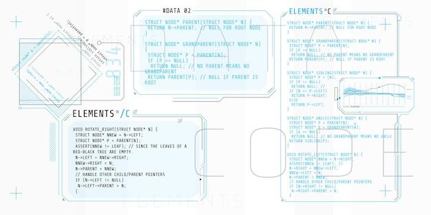 Elementy hud składające się z okien interfejsu z częścią kodu c.