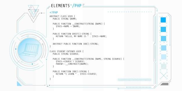 Elementy hud składające się z okien interfejsu z częścią kodu.