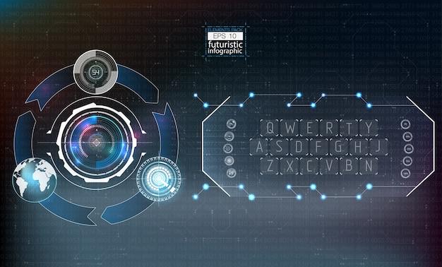 Elementy hud, wykres. ilustracja elementy wyświetlania head-up dla elementów infografiki.