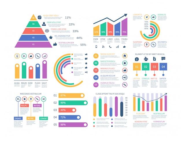Elementy infografiki analytics. grafika danych, schemat wykresu marketingowego. płaski histogram budżetu. elementy statystyki infografiki