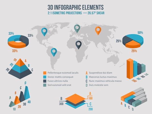 Elementy infografiki biznesowe. wykresy 3d oraz grafika i diagram na mapie świata. ilustracji wektorowych
