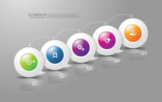Elementy infografiki biznesowej prezentacji z 5 krokami