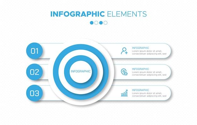Elementy infografiki biznesowej w 3 krokach z efektami niebieskiego koloru