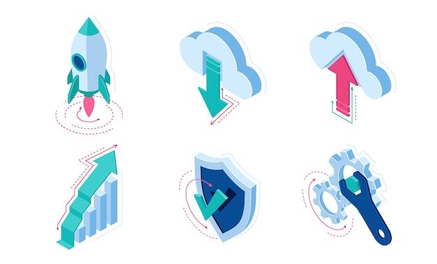 Elementy infografiki izometryczne ikony dla witryny sieci web