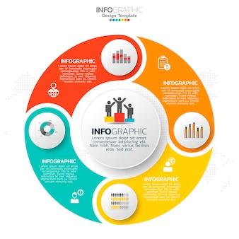 Elementy infografiki koło biznesu z 4 opcjami lub krokami.