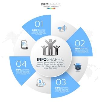 Elementy infografiki koło biznesu z 5 opcjami lub krokami.
