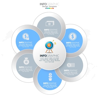 Elementy infografiki koło biznesu z 6 opcjami lub krokami.