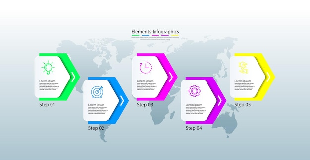 Elementy infografiki kolorowe z pięcioma krokami