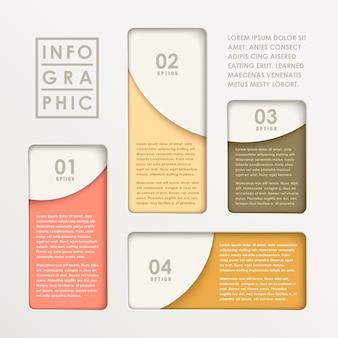 Elementy infografiki nowoczesny abstrakcyjny papierowy wykres słupkowy