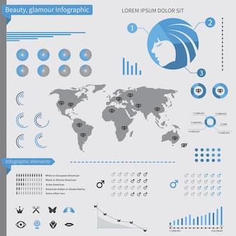 Elementy infografiki piękna, na białym tle
