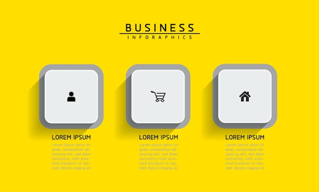 Elementy infografiki. prezentacja i wykres. kroki lub procesy. opcje numer projektu szablonu przepływu pracy. 3 kroki.