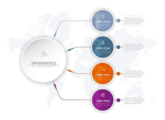 Elementy infografiki. prezentacja i wykres. kroki lub procesy. opcje numer projektu szablonu przepływu pracy. 4 kroki.