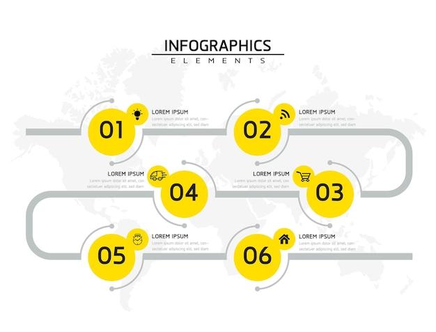 Elementy infografiki. prezentacja i wykres. kroki lub procesy. opcje numer projektu szablonu przepływu pracy. 6 kroków.