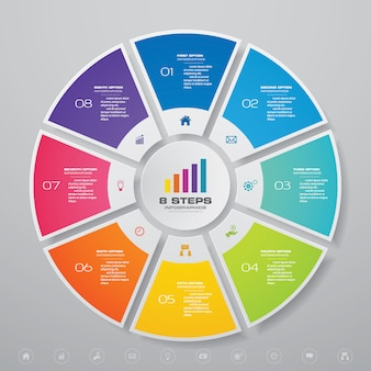 Elementy infografiki wykresu cyklu do prezentacji danych.