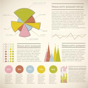Elementy infografiki z kolorowymi diagramami różnych statystyk kształtów i pól tekstowych