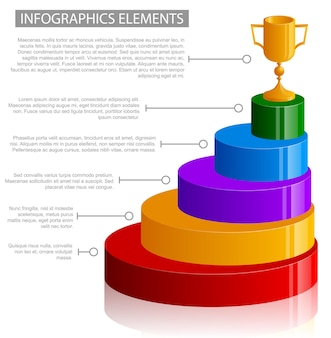 Elementy infografiki zwycięzcy na białym tle