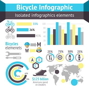 Elementy infographic rowerów