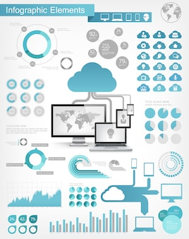 Elementy infographic usługi w chmurze