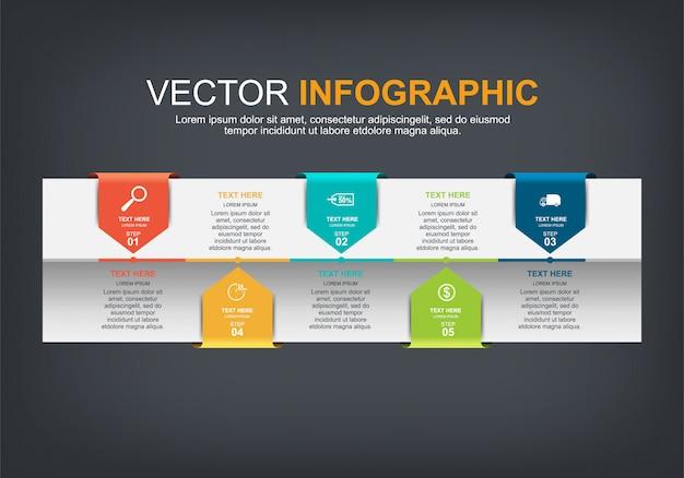 Elementy infographic z 5 opcjami