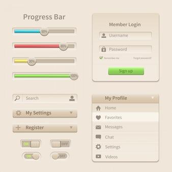 Elementy interfejsu i narzędzia dla stron internetowych i urządzeń mobilnych.