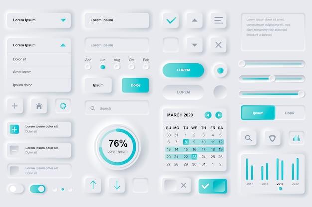 Elementy interfejsu użytkownika dla aplikacji mobilnej finanse. analizy finansowe, zarządzanie czasem i szablony gui do planowania. unikalny zestaw do projektowania interfejsu użytkownika neumorficznego. zarządzaj, nawiguj, formularz wyszukiwania i komponenty.