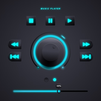 Elementy interfejsu użytkownika dla aplikacji mobilnej odtwarzacza muzyki w kolorze błękitnego nieba. premia