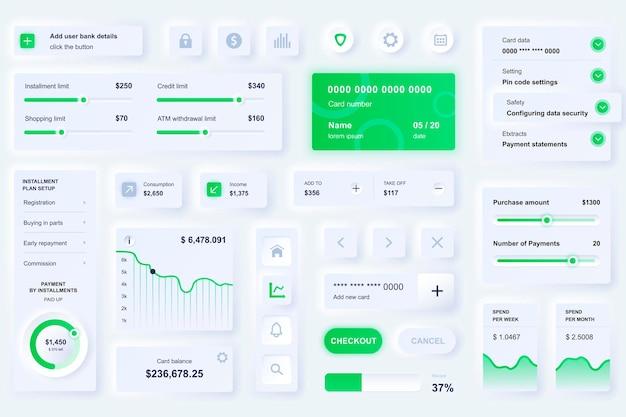 Elementy interfejsu użytkownika dla bankowej aplikacji mobilnej