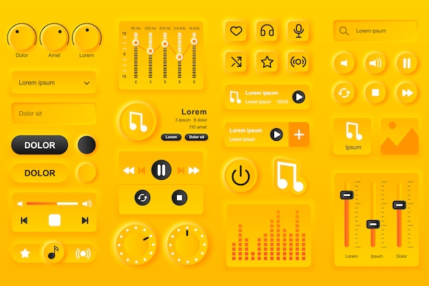 Elementy interfejsu użytkownika do aplikacji mobilnej odtwarzacza muzyki. ustawienia korektora, lista odtwarzania z kompozycjami, szablony gui paska wyszukiwania. unikalny zestaw do projektowania interfejsu użytkownika neumorficznego. elementy nawigacyjne i audio.