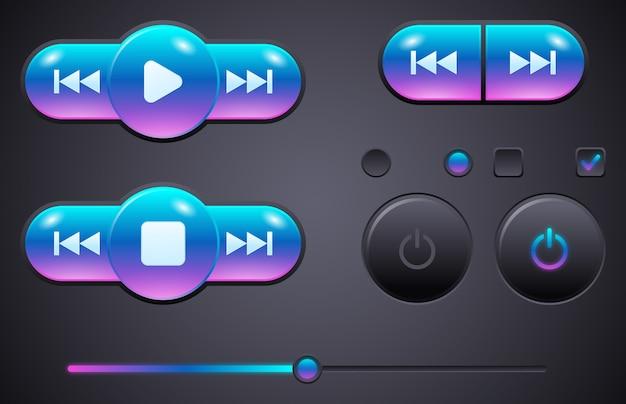 Elementy interfejsu użytkownika do przycisków sterujących odtwarzaczem muzyki