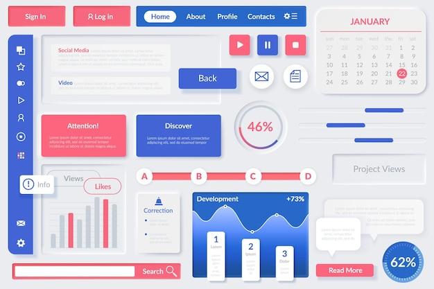 Elementy interfejsu użytkownika. element interfejsu internetowego, aplikacje mobilne i strony internetowe responsywne. przyciski, narzędzia i diagramy, wyświetlacz multimediów, szablon wektora menu w niebiesko-białych i różowych kolorach